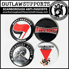 OUTLAW SUPPORTS... ANTIFA Anti Fascist Action - 4 x 38mm Button Badges