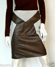 VALENTINO lamb skin and suede colour-block pencil skirt UK 12
