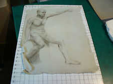 """vintage Drawing: early 1900's-MAN IN UNDERWARE SITTING- aprox 18 x 24"""""""