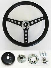 "65-69 Ford Mustang Steering Wheel Black on Black 14 1/2"" Mustang Center Cap"