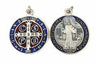 St SAINT BENEDICT Silver Red Blue Enamel Medal Charm Pendant 20mm 32mm 48mm 97mm