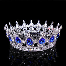 5cm High Sapphire Blue Sparkling Crystal King Crown Wedding Prom Party Pageant