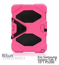 "Hot Pink Shock Proof Heavy Duty Tough cover case for Samsung Galaxy Tab 3 10""1"