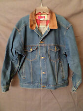 Marlboro Country Store Men's Blue Jean Jacket with Genuine Leather Collar SZ L