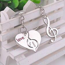 1 par en forma de corazón colgante clave Parejas llavero de regalo Nota musical