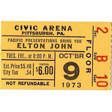 ELTON JOHN Concert Ticket Stub PITTSBURGH 10/9/73 GOODBYE YELLOW BRICK ROAD TOUR