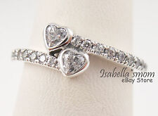 FOREVER HEARTS Genuine PANDORA Silver/Sparkling VALENTINE LOVE Ring 9 (60) NEW