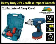 "HEAVY DUTY 1/2"" DRIVE 24V CORDLESS IMPACT WRENCH, 2 x 24V BATTERIES, CARRY CASE!"