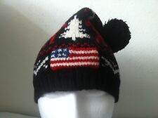 Polo Ralph Lauren Wool Hat~Black/Red/White~Moose~Trees~USA Flag~Pompom~NWT