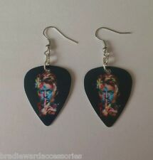 DAVID BOWIE guitar pick plectrum GLAM experimental SILVER  EARRINGS paint style