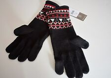 J Jill NEW SMART GLOVES use with Smart Phone or Touch Pad Red Black Fair Isle
