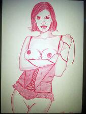 Farbstift Zeichnung Aktzeichnung Erotic Drawing21x29cm/femme nu dessin