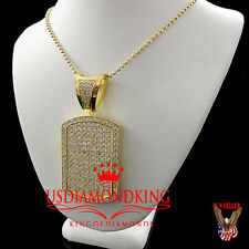 14K YELLOW GOLD FINISH ICED OUT BREATHTAKING WHITE LAB DIAMOND DOG TAG CHAIN SET