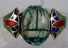 Antique Egyptian Scarab & Enameled Ring 10 K Gold Size 9.25