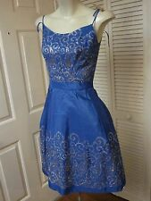 AS IS VINTAGE 50'S BRIGHT BLUE TAFFETA GOLD SILVER METALLIC EMBROIDERY DRESS XS