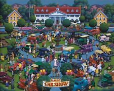 DOWDLE FOLK ART COLLECTORS JIGSAW PUZZLE CLASSIC CAR SHOW 1000 PCS