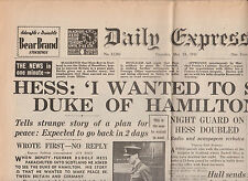 WW2 Wartime Newspaper Daily Express May 15 1941 Rudolf Hess London Air Raids