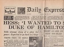 WW2 Wartime Newspaper Daily Express May 15 1941 Rudolf Hess London Air Raids