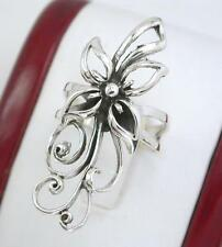 ELEGANT STERLING SILVER LONG DETAILED FLOWER RING size 7  style# r1081