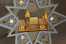 Christmas Decoration- Indoor LED Star with Church Scene lights Wood Window Light