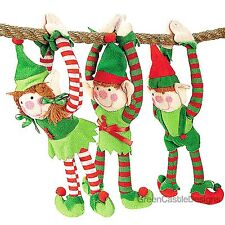 Plush Elf - 3 Elves for Hanging or on the Shelf Christmas Toy Doll Ornament Boy