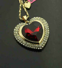 H721R    Betsey Johnson Shiny crystal Red glass heart pendant Necklace