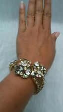 Pretty vtg  Juliana D&E grey clear rhinestone clamper hinge gold  tone bracelet
