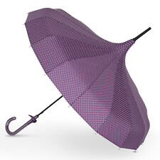 Ladies 'Victoria' Vintage Style Pagoda Wedding Umbrella - Purple & White Spots