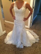 Stunning Custom Lace Dress: V-neck low back dropped waist ivory Approx size 4