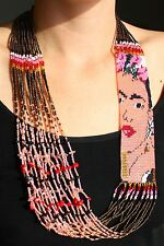 Fine Crystal Glass Beaded Frida Kahlo Hand Stranded Necklace Artisan Jewelry New