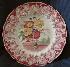 "ANTIQUE ROYAL DOULTON POMEROY RED FLORAL PATTERN 10 1/2"" DINNER PLATE"