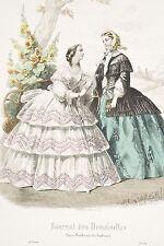 Gravure MODE XIX°Journal des Demoiselles v 1860 Femmes Bavardages dans un Parc