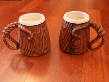 2 Vintage 1958 Treasure Craft Western Lasso Rope / Woodgrain Ceramic Mugs