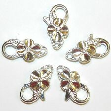 MX7206L Bright Silver Large 25x14mm Flower Design Lobster Claw Focal Clasp 25/pk