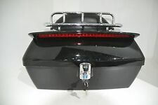 Black Motorcycle Trunk Tail Box Luggage W/Top Rack Backrest Taillight For Yamaha