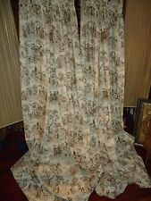 CUSTOM RUCHED COUNTRY TOILE BROWN & CREAM (PAIR) LINED DRAPERY PANELS 28 X 73