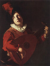 Handmade Bartolomeo Manfredi Art Oil Painting repro Lute Playing Young