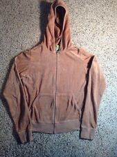 JUICY COUTURE Youth kids girl Hoodie Sweatshirt size L. Tan/gold Velour. Ked