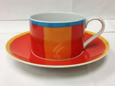"THOMAS ""STRIPES"" TEACUP & SAUCER BLUE ORANGE WHITE PORCELAIN GERMANY"
