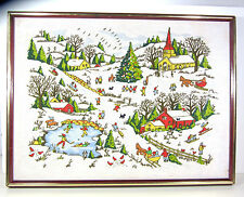 Framed Completed Crewel Embroidery Grandma Moses Winter Town Scene Picture