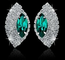 GORGEOUS 18K WHITE GOLD PLATED EMERALD GREEN AND CLEAR AUSTRIAN CRYSTAL EARRINGS