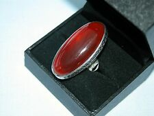 LOT 487 STUNNING LARGE OVAL RED ONYX SOLID STERLING SILVER RING - SIZE J