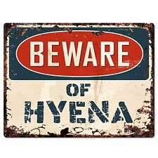 PP1500 Beware of HYENA Plate Rustic Chic Sign Home Room Store Decor Gift