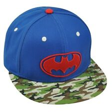 DC COMICS BATMAN BLUE CAMO FLAT BILL SNAPBACK HAT CAP ADJUSTABLE FLORAL PRINT