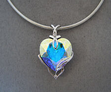 SWAROVSKI  CRYSTAL ELEMENT AURORE BOREALE HEART PENDANT & ROLLED OMEGA NECKLACE