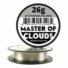 SS 316L - 25 ft. 26 Gauge AWG Stainless Steel Resistance Wire 0.40 mm 26g 25'