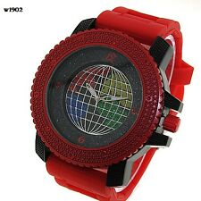 MENS ICED OUT RED/BLACK CAPTAIN BLING ICE NATION HIP HOP WATCH WITH BULLET BAND