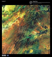 La scienza mappa SATELLITARE Afghanistan Mountain Rugged REPLICA poster stampa pam1486