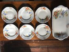 Vintage hand finished Sandwich Tray and 6 Plates Made In England