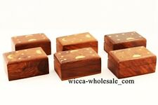 Lot of 6 Celestial Wooden Carved Box Wicca Pagan 2 X 3 inch Jewerly box Pendulum